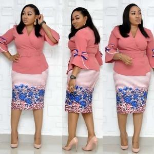 Image 3 - Roupas africanas elegante manga alargamento bodycon vestido feminino 2019 v neck arco impresso cinto lápis vestido de alta qualidade senhora escritório xxxl