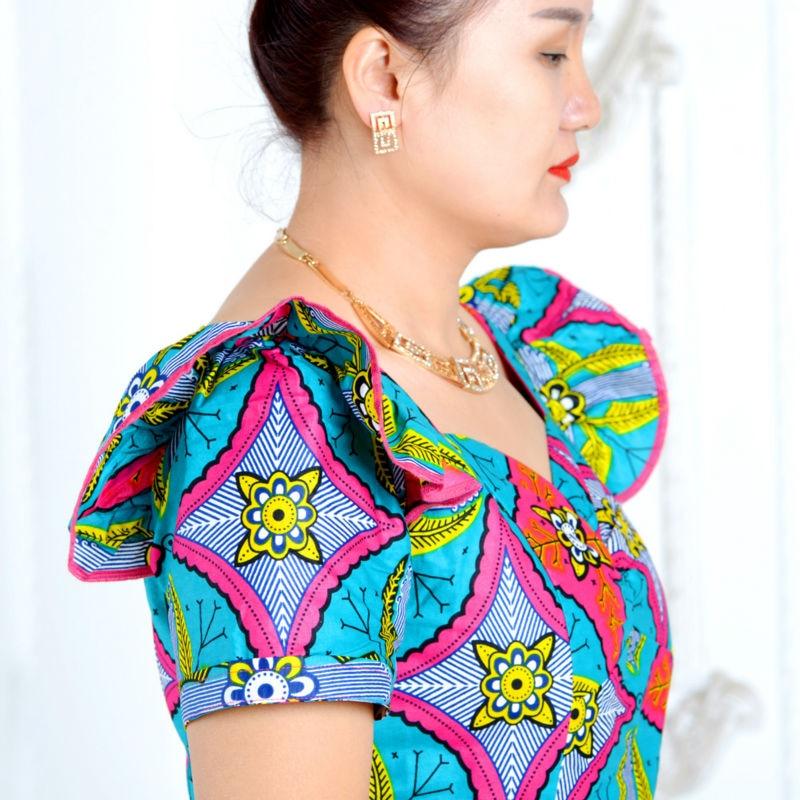 Sommarafrikanska klänningar för kvinnor tvådelade kostym - Nationella kläder - Foto 4