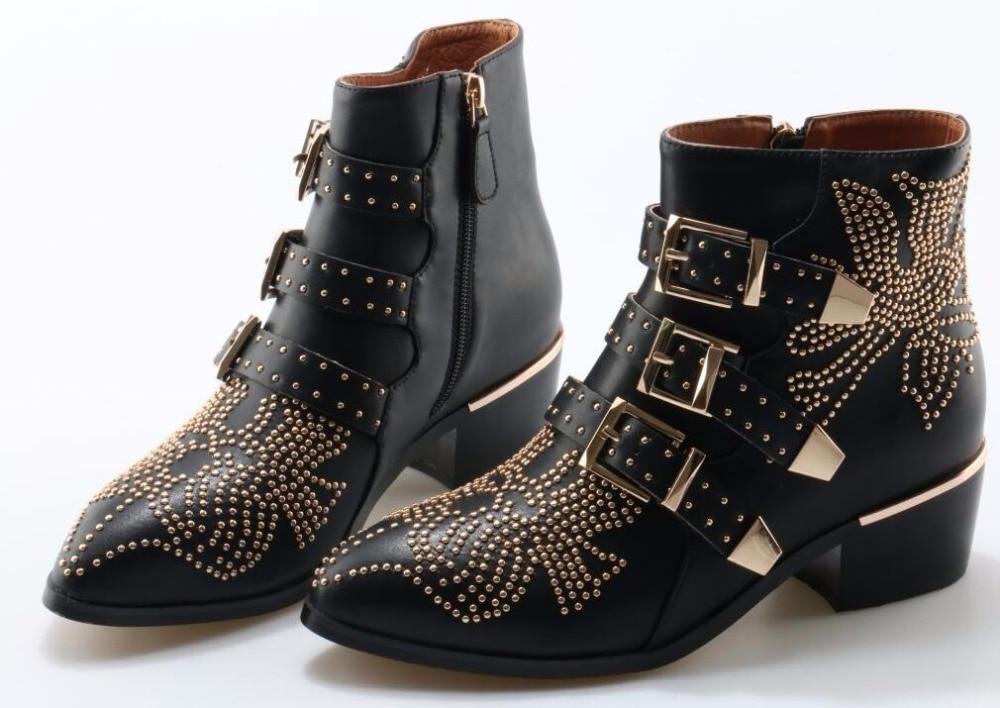 Metal moda Fivela Ankle Boots Mulheres De Couro Cravejado pontas strass Toe tornozelo fivela plana botas fotos reais - 3