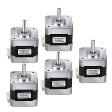 Nema 17 Stepper Motor, 5Pcs Bipolar 1.7A 40Ncm(56.2Oz.In) 40Mm Body 4-Lead With 40Mm Cable And Connector For 3D Printer/Cnc