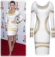 2016 Sexy Club Dress Womens Gold Foil Printed Mini Dress Celebrity KIM KARDASHIAN Bodycon Tunic Short
