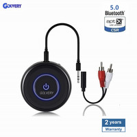 Latest Bluetooth V5.0 Audio Transmitter Receiver 2 IN 1 with APTX Low Latency, Wireless Aux Adapter for Home Stereo TV Headphone