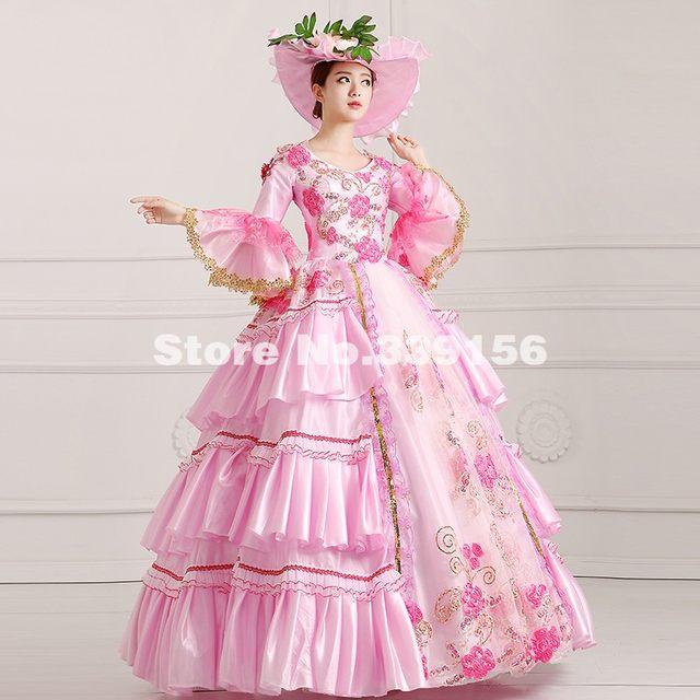 Online Shop Elegant Pink Lace Printed Civil War Southern Belle Dress ...
