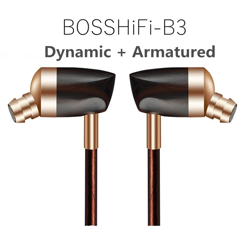 BLON BOSSHIFI B3 In Ear Headphone Dynamic + Balanced Armature Ebony Wooden Earbuds HiFi Earphone Fone de ouvido Auriculares 100% original blon s1 3 5mm in ear earphone ba with dd bosshifi s1 balanced armature in ear earphone diy custom sport earphone