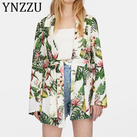 YNZZU Chic Floral Print Blazer Women 2019 Autumn Long Style Sashes Suit Coat Female Jacket Outerwear Women Tops Streetwear AO984