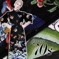2018 Chinese Style Crane Wave Flower Print Digital Silk Hemp Fabric Linen 140*118cm