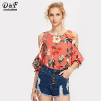 Dotfashion Vertical Striped Jungle Print Open Shoulder Frill Trim Blouse Multi Color Round Neck Tops Ruffle