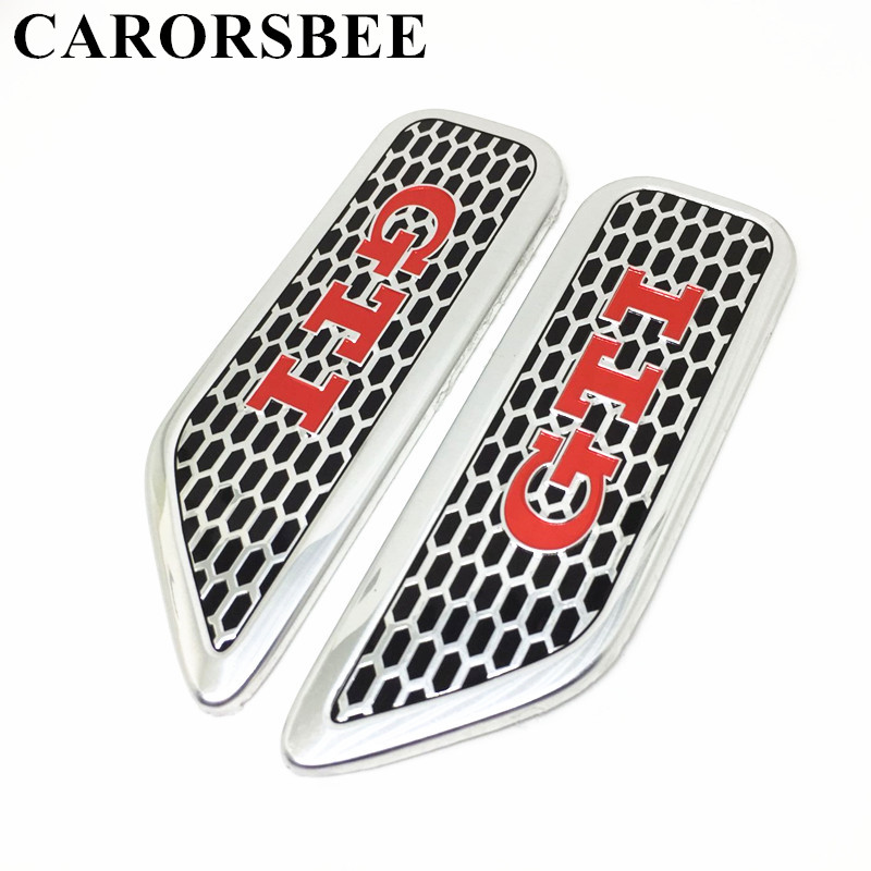 CARORSBEE 1 Pair Aluminium alloy Red GTI Emblem Badge Decal Car sticker Auto Door Body Side stickers Racing Styling Accessories car styling uchiha sasuke naruto door stickers japanese anime vinyl sticker decals auto body racing decal acgn car film paint