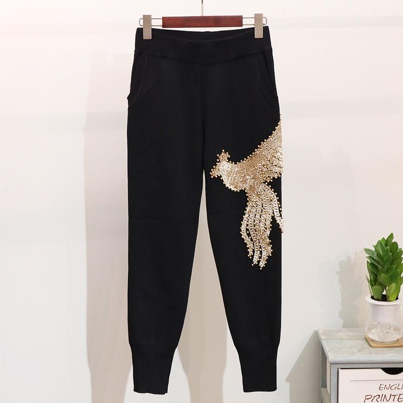 Mode Automne Pantalon Deux Black Set De Élastique Femmes Longues Pièces Nouveau 2 Taille gray Tops Pièce Manches Perles Paillettes Hiver Tricot Ensemble 35AjR4Lq
