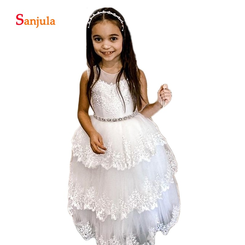Lace   Flower     Girls     Dresses   2019 Illusion O-Neck Ball Gown First Communion   Dresses   Tieres Lace Skirt Beaded vestidos flores D934