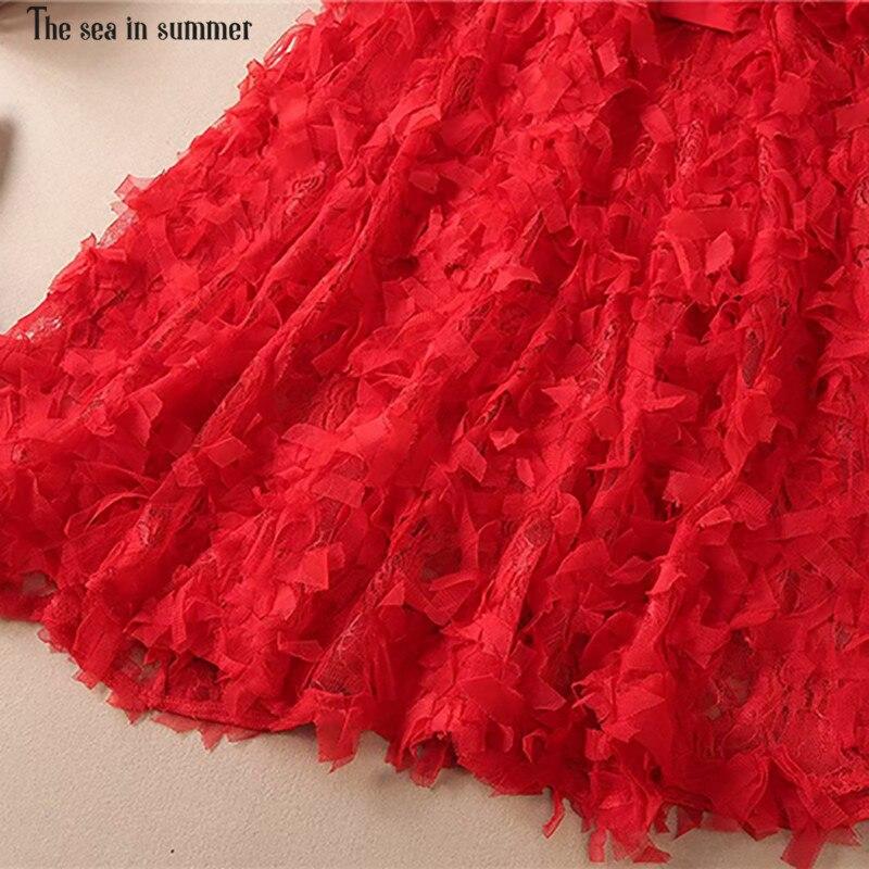 Haute Appliques Rose Femme Longues Qualité Partie En Femmes Magnifique Concepteur Mer Été rouge Robe mollet Parti Longueur De Mi Manches La Ete R7wxqvYWTw