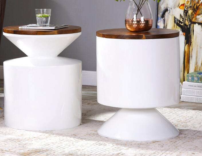 US $366.4 20% OFF|Sofa side modern minimalist ins living room bedroom  bedside table small round side table corner several solid wood.-in Coffee  Tables ...