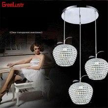 Lustres Apple, Хрустальная светодиодная Подвесная лампа, светильник для прохода, балкона, подвесной светильник, хромированный светильник, светильники, абажур, E27, Подвесная лампа