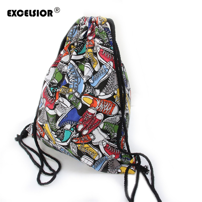Girls Shoulder Bags Women Canvas Hamburg Shoes Drawstring Backpacks Shoulder Travel Shoes Bags Storage Bags