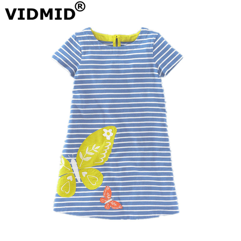 VIDMID Girls dress Summer Dresses for girls  children Kids Clothing Butterfly striped Cotton baby Girls brand dresses kids cute