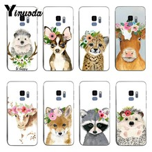 Yinuoda Animal head wearing flowers hedgehog cow dog fox Soft silicone cover Case For samsung S6 edge S8 S9 S7 S9Plus Note 8 9