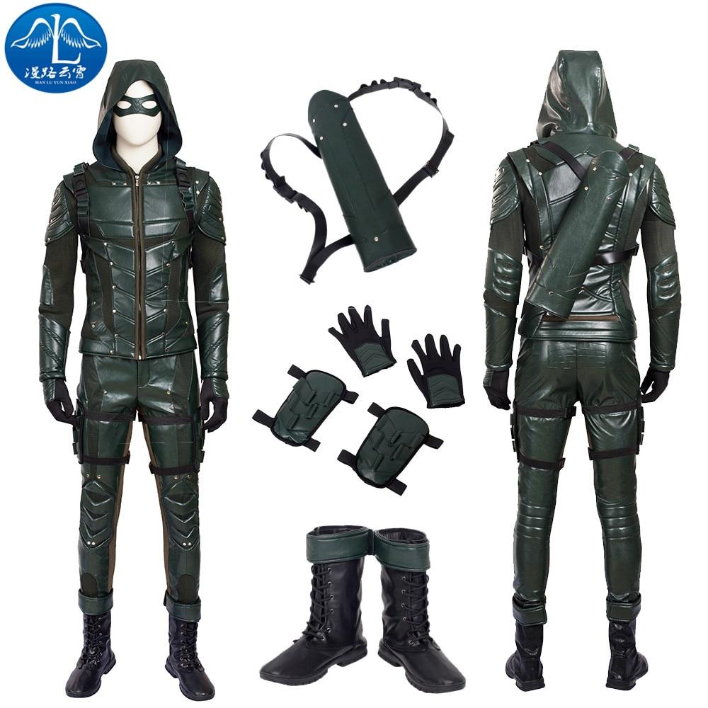 ManLuYunXiao Green Arrow Season 5 Cosplay Costume Men Full Set Green Arrow Costume Halloween Costumes For Men Custom Made