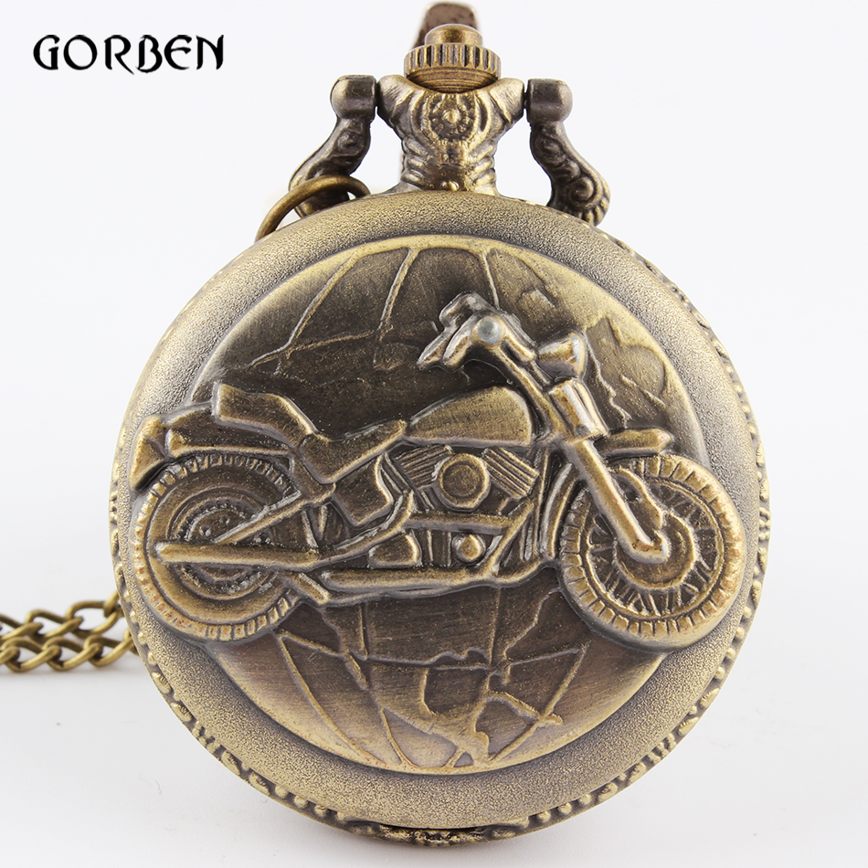 Vintage Bronze Motorcycle Motorbike Pocket Watch Retro Necklace Pendant Chain MOTO Quartz Watch Relogio De Bolso Men Gift 2017 reloj hot fashion vintage retro bronze quartz pocket watch pendant chain necklace dece13