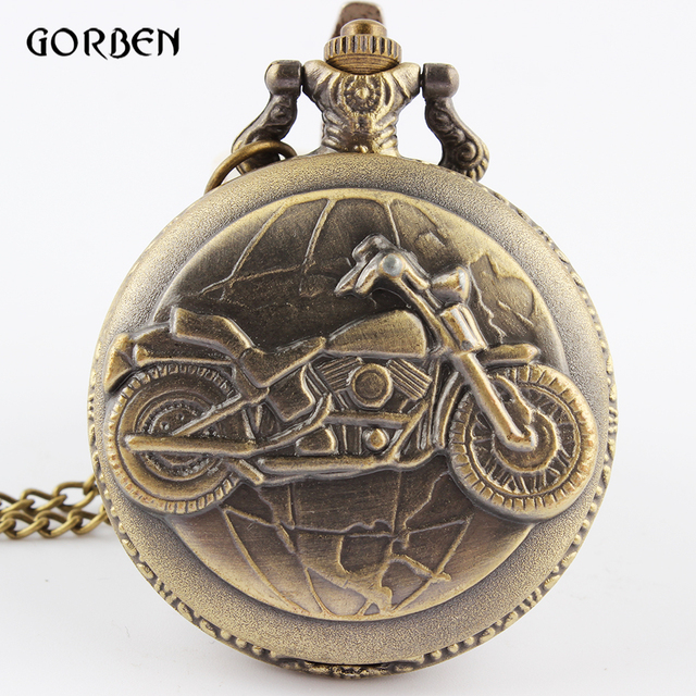 Vintage Bronze Motorcycle Motorbike Pocket Watch Retro Necklace Pendant Chain MO