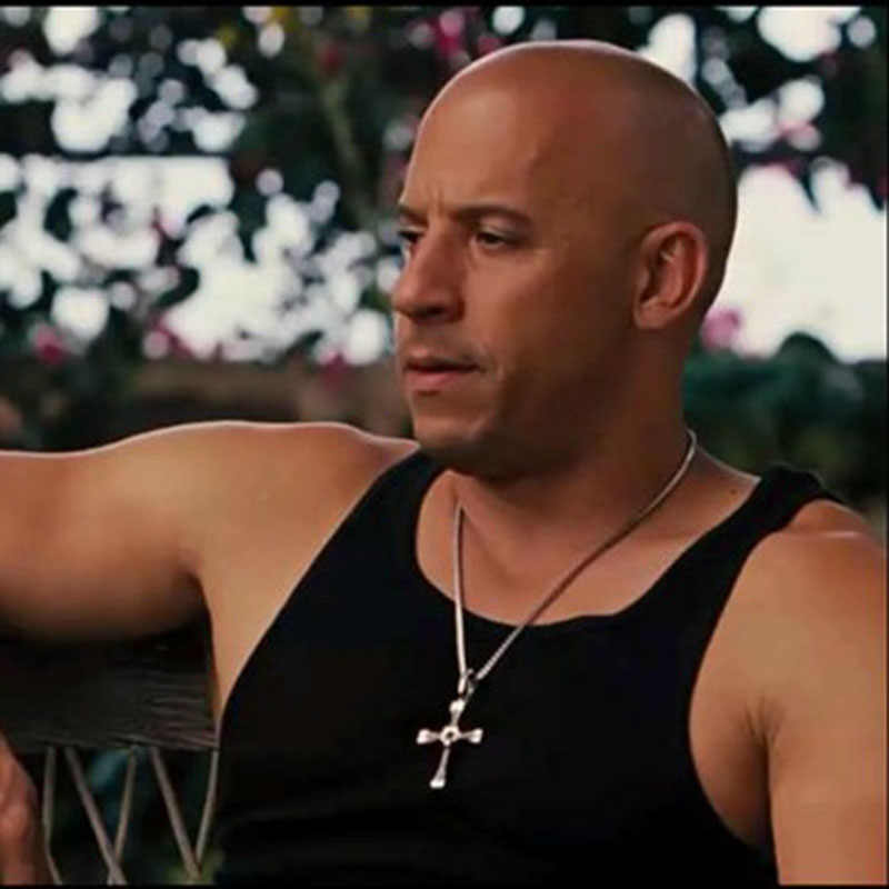 Hot Sale The Fast and the Furious Celebrity Vin Diesel Item Necklaces Crystal Jesus Cross Pendant Necklace for Lovers