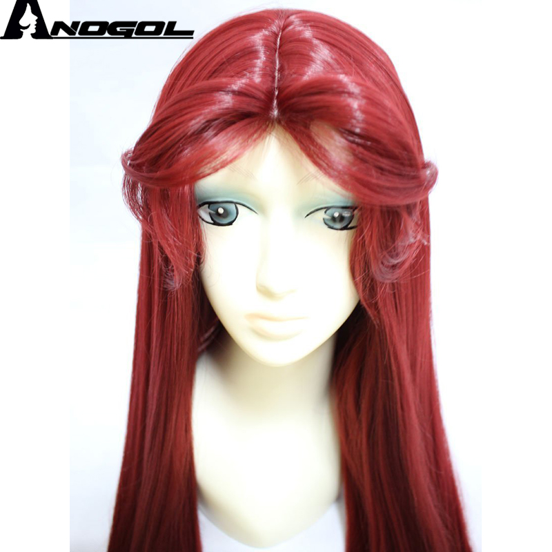 Anogol Anime Wigs Teen Titans Starfire Natural Long Straight Princess Wine Red Synthetic Cosplay Wig For Halloween Party Costume Synthetic None-lacewigs