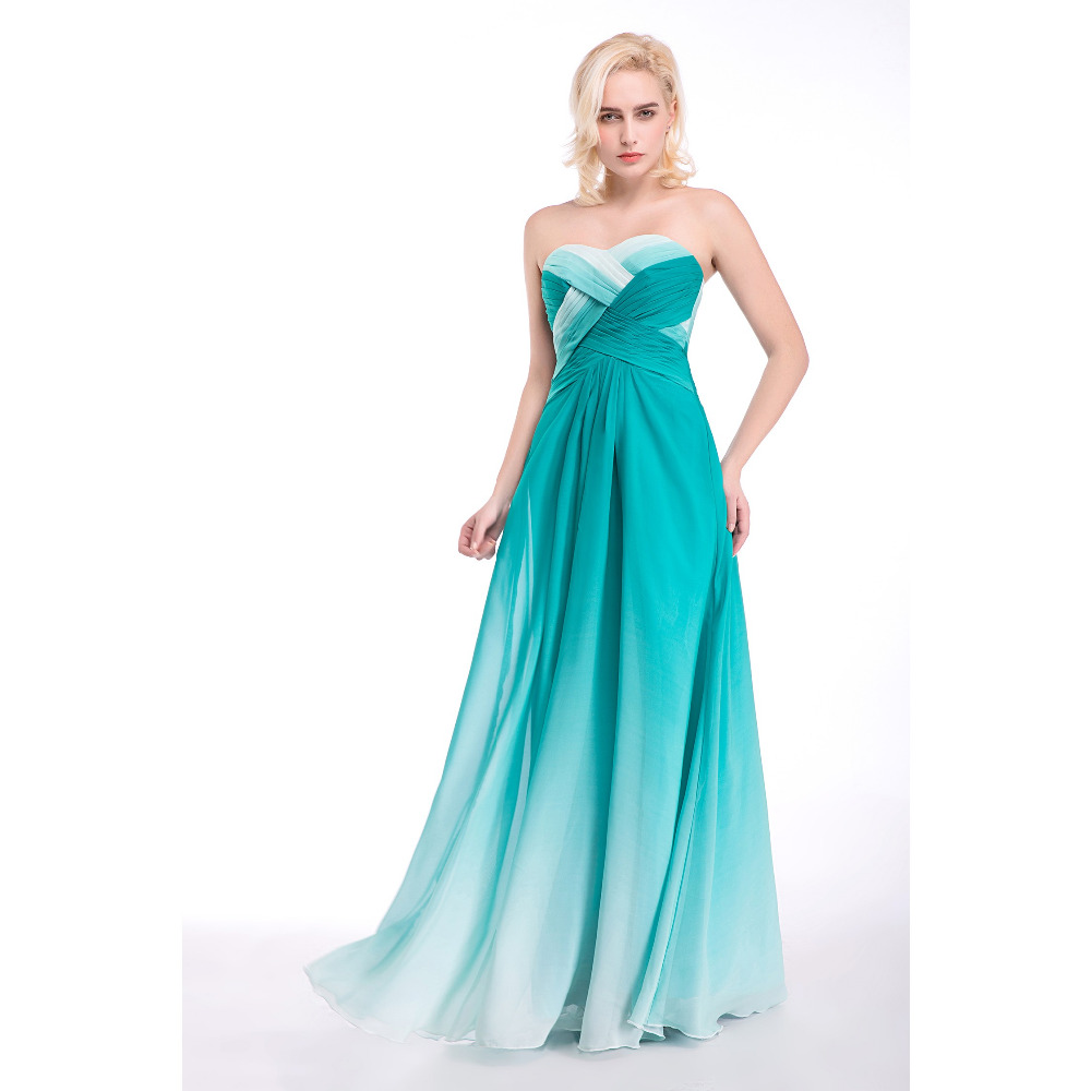 Cheap Turquoise Ombre Prom Dresses Lone A Line Gradient Color ...