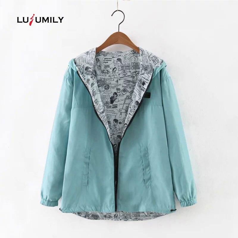 Lusumily 2019 Autumn Women Bomber   Basic     Jacket   Pocket Zipper Hooded Two Side Wear Cartoon Print Outwear Loose Coat windbreaker