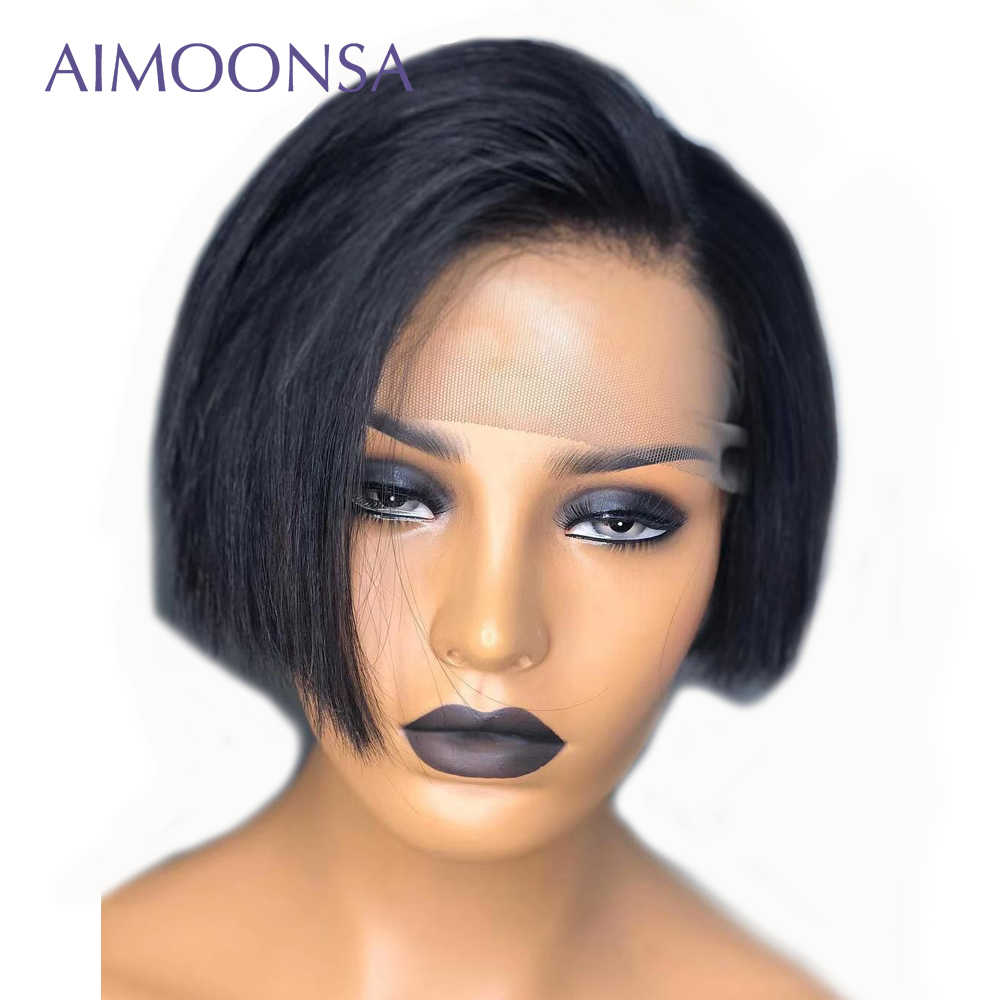 13x6 613 Short Bob Human Hair Wigs Pixie Cut Bob Lace Front Wigs For Black Women Aimoonsa Remy Hair Preplucked Lace Wigs
