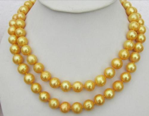 Charmant collier de perles naturelles du sud 10-11 MM 35 fermoir jauneCharmant collier de perles naturelles du sud 10-11 MM 35 fermoir jaune
