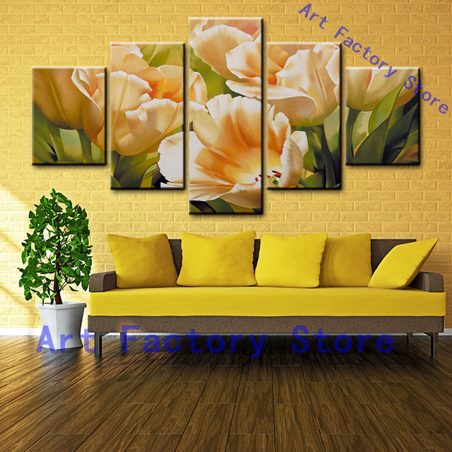 5 Pieces Landscape Wall Art Yellow Flower Canvas Painting Suntset ...