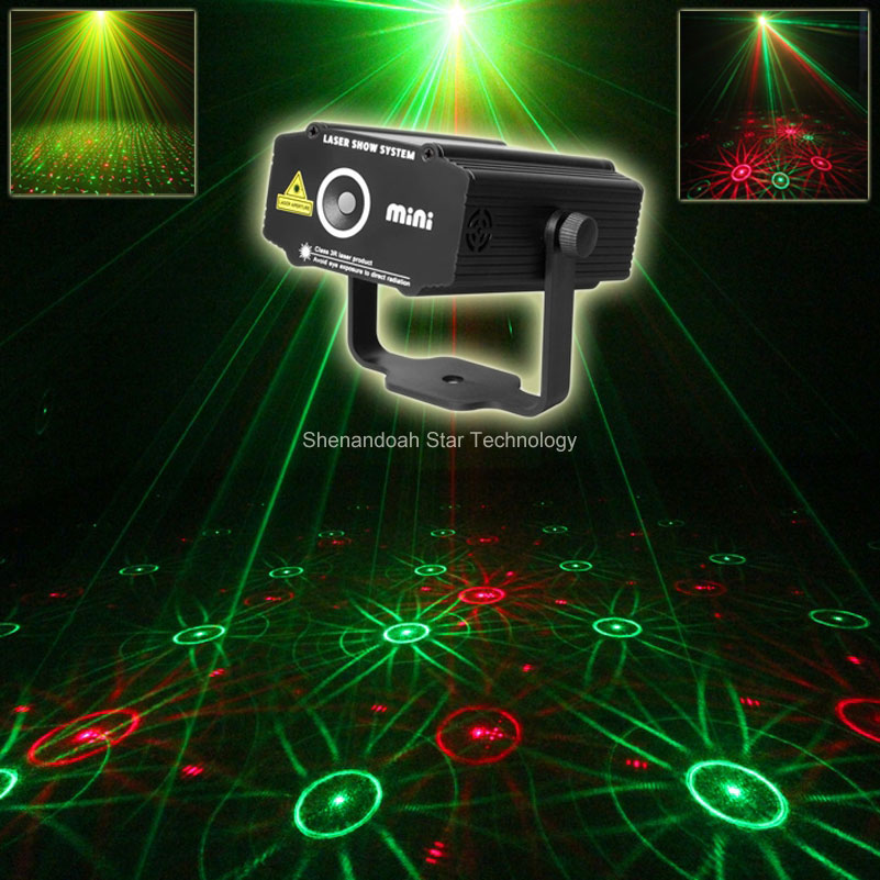 ESHINY Mini 2in1 R&G Sunflower Patterns Laser Projector Disco DJ Club Shop Holiday family Party Stage Effect light Show B21