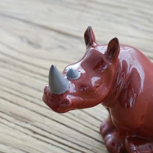 Image 2 - พอร์ซเลนแรดขนาดเล็ก Handmade เซรามิคแรด Figurine แอฟริกาสัตว์ป่าหัตถกรรมประดับตกแต่งบ้าน Art Collection