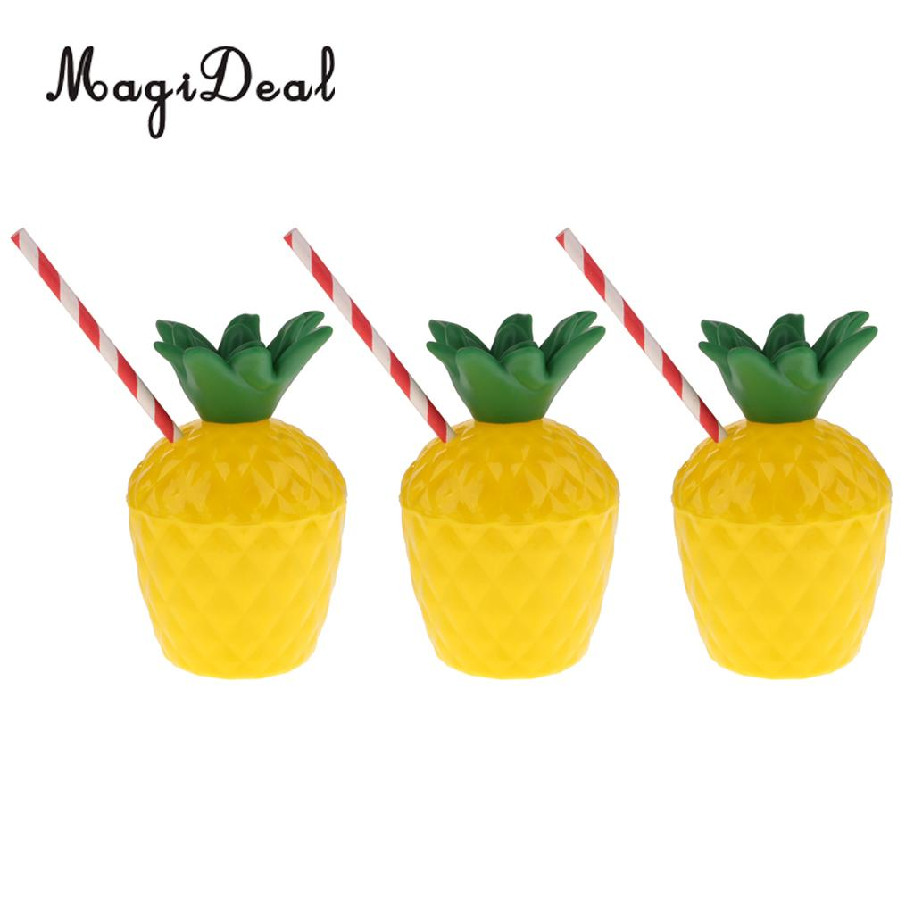 Pack of 10pcs Plastic Fruit Pineapple Drink Cup with Straw Party Supplies