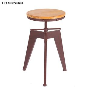 iKayaa Metal Bar Stool Height Adjustable Swivel Industrial Style Bar Stool Pinewood Top Bar Furniture US FR DE Stock