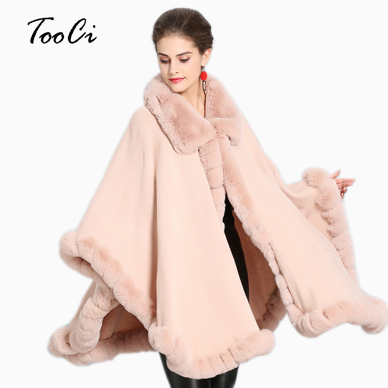 New Autumn Elegant Faux Fur Coat  Women Pink Warm Soft Jacket Cardigan Thick Overcoat Short Outerwear Poncho And Capes