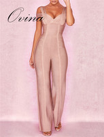 Khaki Top Quality Rompers Womens Jumpsuit Strap V Neck Straight Bodycon Rayon Bandage Jumpsuit