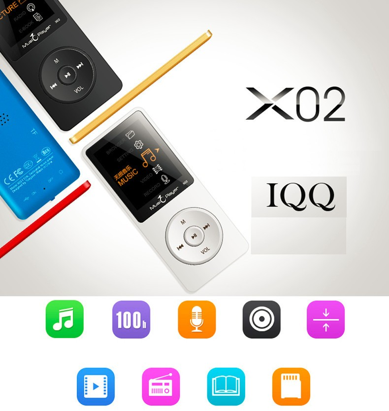 IQQ X02 8GB MP3 Music Player 1.8 Inch Screen 30h lossless sound, Support up to 64GB Micro SD Card Gold Built in Speaker FM Ebook (7)