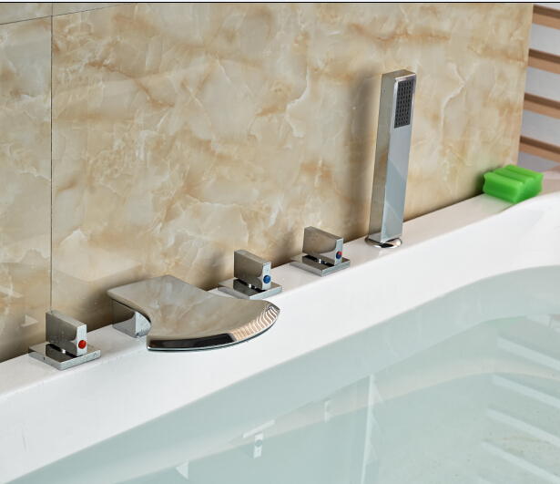 Elegant Chorme Faucet Bathroom 5PCS Faucet Deck Mounted Shape Hot&Cold Water Tap portable 0 45m s digital anemometer high precision lcd display wind speed air velocity temperature measuring meter