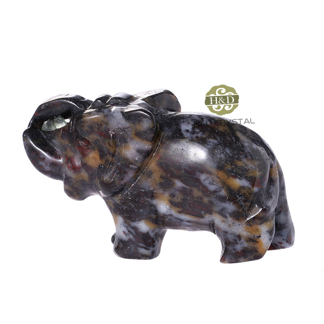 Dark Brown Feng Shui Desk Decor Crafts Carved Quartz Crystals Elephant  Stone Figurines Chakra Stones Healing