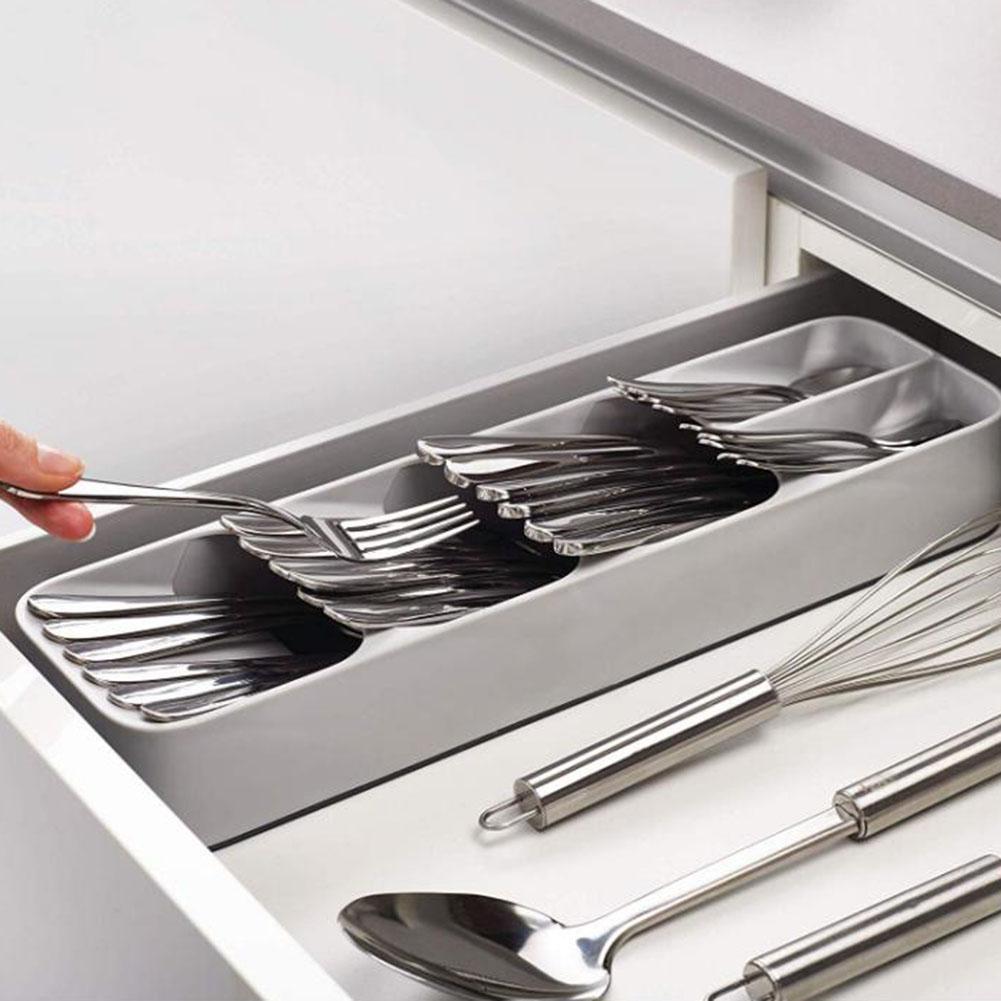 Tragbare Plastiklöffel Gabel Reise Transparent Geschirr Box Storage Organizer