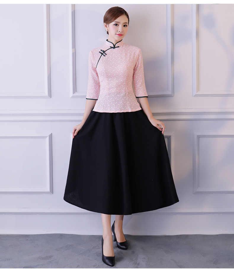 Nieuwe Zomer Womens Blouse Rok Sets Traditionele Chinese 2 pc Shirt Mandarijn Kraag Cheongsam Knop Jurk Maat S-XXXL