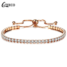 CUTEECO 2019 Hot Sale Charm Bracelets Rose Gold Silver Cubic Zirconia Chain Bangles For Women Statement Jewelry