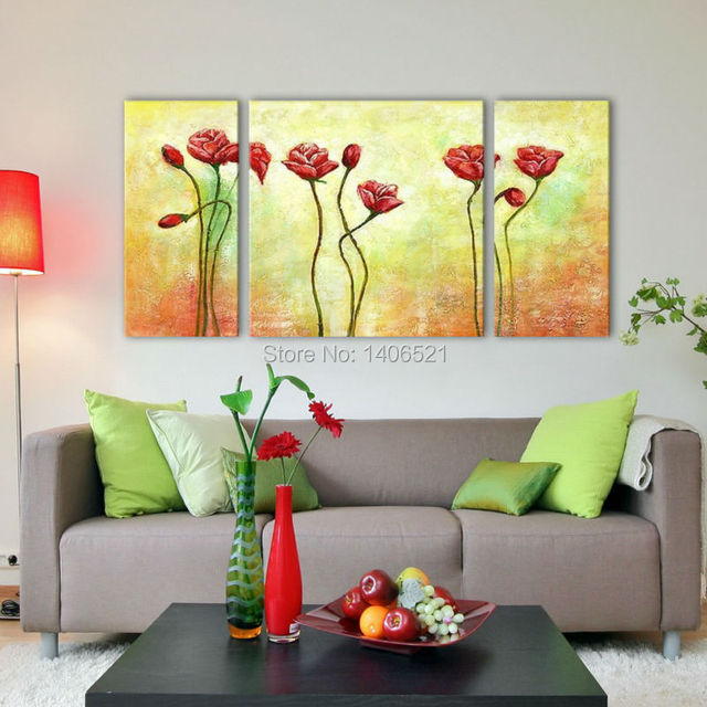 3 Panel Wall Art Feng Shui flower handmade Oil Painting On Canvas ...