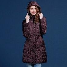 Осенью и зимой пальто женщин средней длины с капюшоном женская верхняя одежда плюс 48-5 Для Европы и России синий и красный пальто V502
