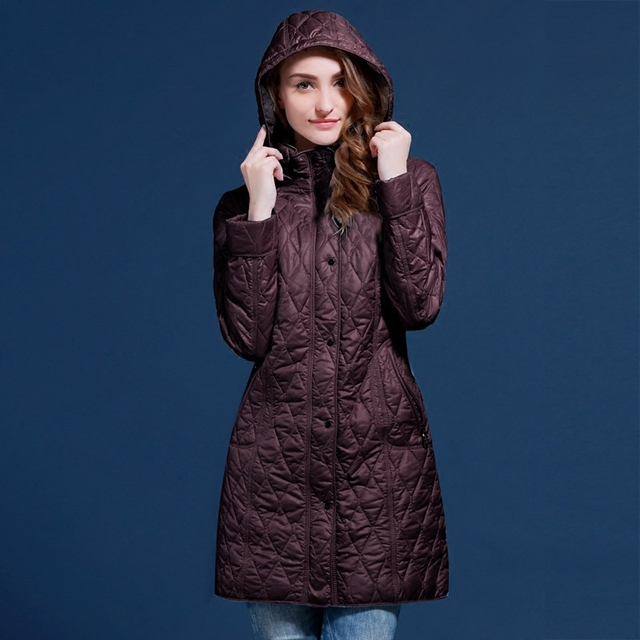 autumn and winter women coat medium-long with a hood female outerwear plus 48-5 For Europe and Russia blue and red coats V502