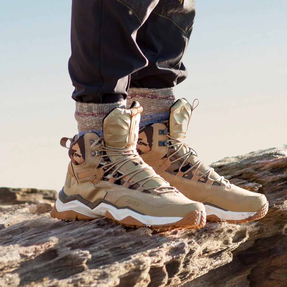 RAX Men Hiking <font><b>Shoes</b></font> Mid-top Waterproof <font><b>Outdoor</b></font> Sneaker Men Leather Trekking Boots Trail Camping Climbing Hunting Sneakers Women