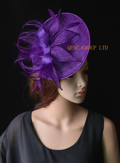 NEW Purple Big sinamay fascinator wedding hat with sinamay  loops feathers handmade flowers for Royal Races Kentucky derby. 883cc1118e3