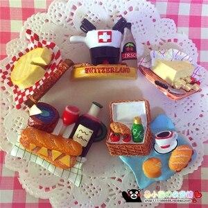 Корзина для пикника еда Хлеб сыра кофе 3D Магнитный Магнит на холодильник украшение дома аксессуары сувенир для путешествий