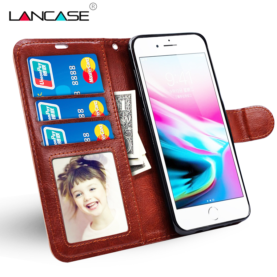 LANCASE For iPhone 6S Case Leather Wallet Cover For iPhone 6 Plus 5S 6S 7 Plus 8 8 Plus X Case Card Slot Flip Stand Lanyard Capa