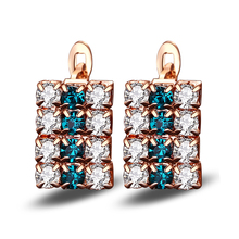 Shallow Gold Crystal Earrings Plated Stud for Women Jewelry